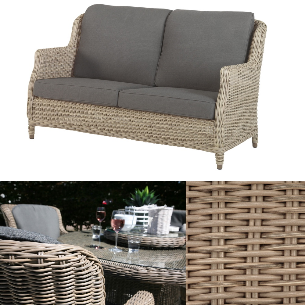gartenbank 4seasons brighton pure 2 sitzer sofa geflecht rattan mit kissen vom garten. Black Bedroom Furniture Sets. Home Design Ideas