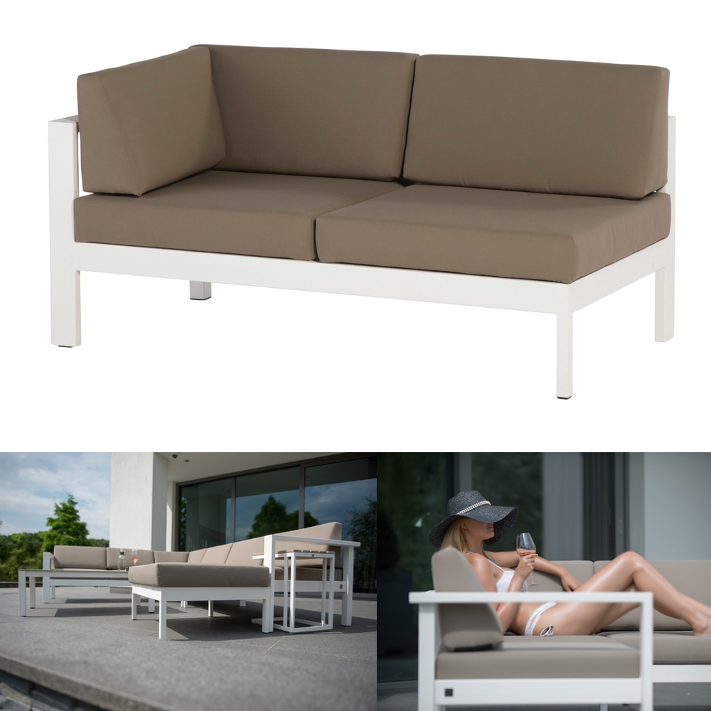 gartenbank 4seasons cosmo wei 2er sofa armlehne rechts. Black Bedroom Furniture Sets. Home Design Ideas