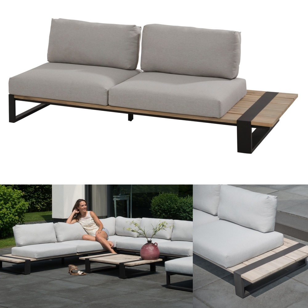 gartenbank 4seasons duke 2er sofa links aluminiumgestell teakholz kissen gartenm bel fachhandel. Black Bedroom Furniture Sets. Home Design Ideas