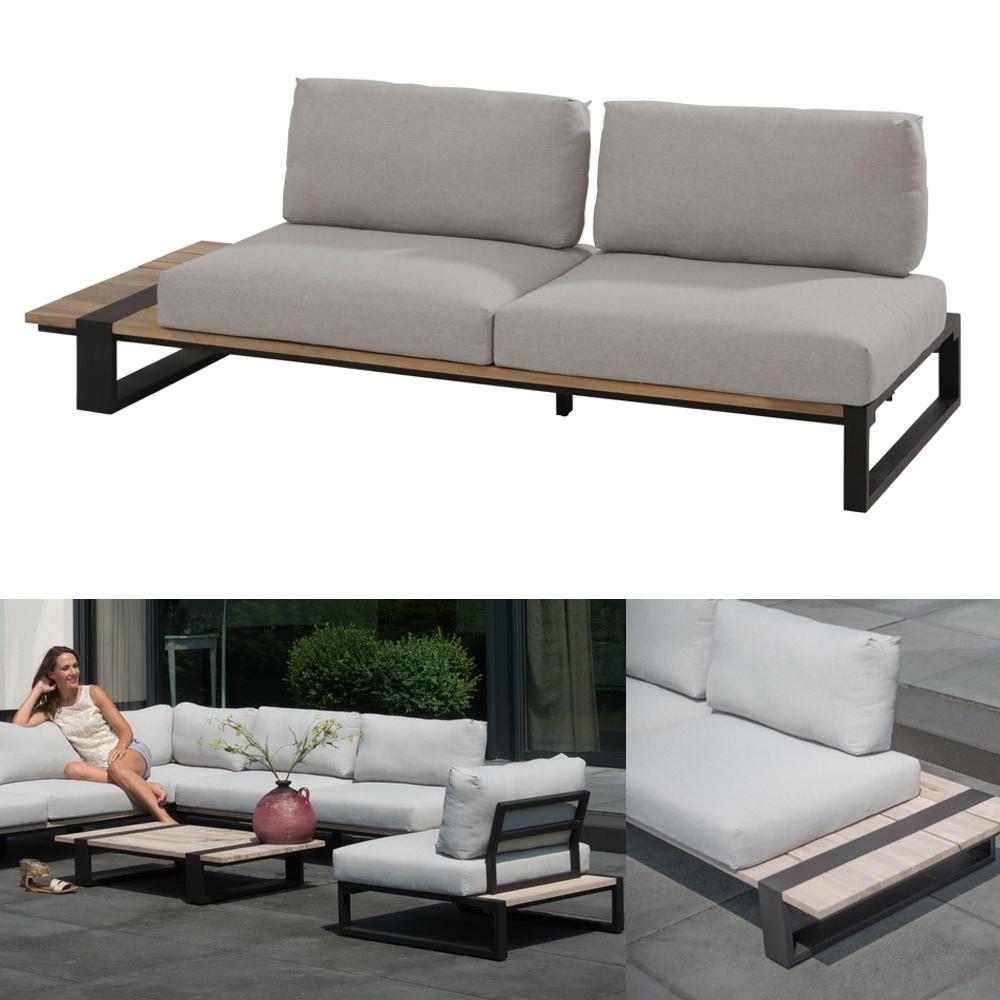 Gartenbank 4Seasons «Duke» 2er Sofa rechts, Aluminiumgestell Teakholz Kissen