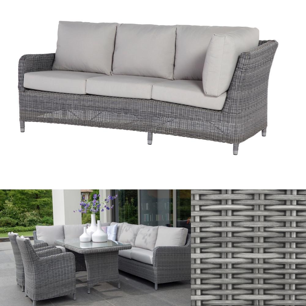 Gartenbank «Indigo ROCK» 3 Sitzer Sofa Geflecht Premium inkl. Kissen ...