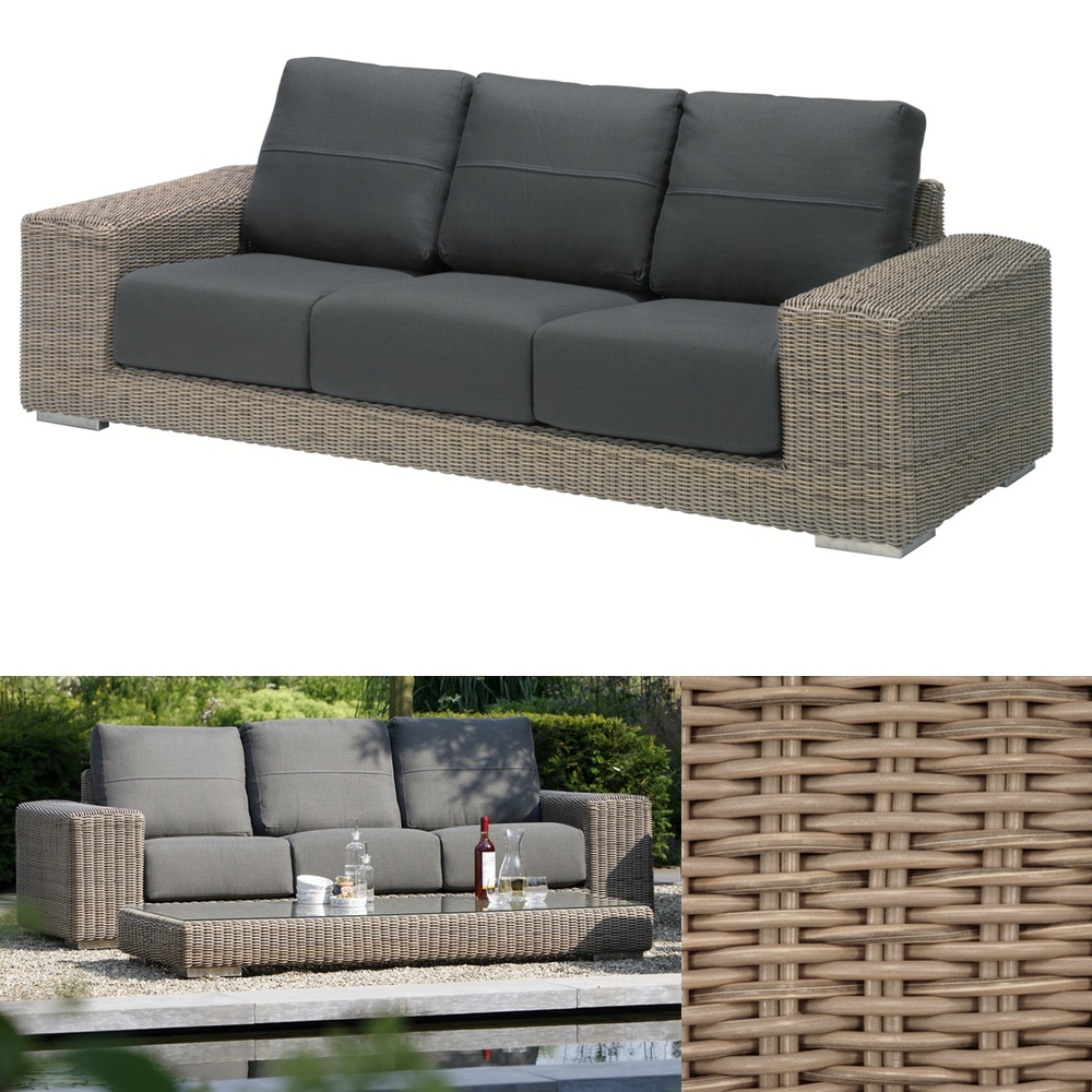 Gartenbank 4Seasons «Kingston PURE» 3er Sofa, Korbcouch, Geflecht