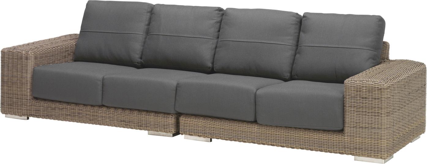 Gartenbank 4Seasons «Kingston PURE» 4er Sofa, Korbcouch, Geflecht Big Sofa