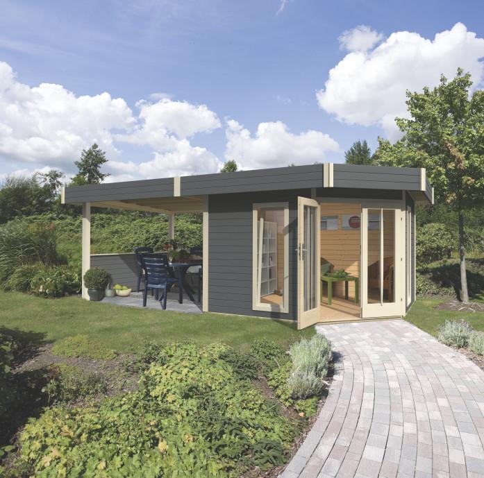 gartenhaus flachdach karibu corner cube poolhaus mit terrasse ebay. Black Bedroom Furniture Sets. Home Design Ideas