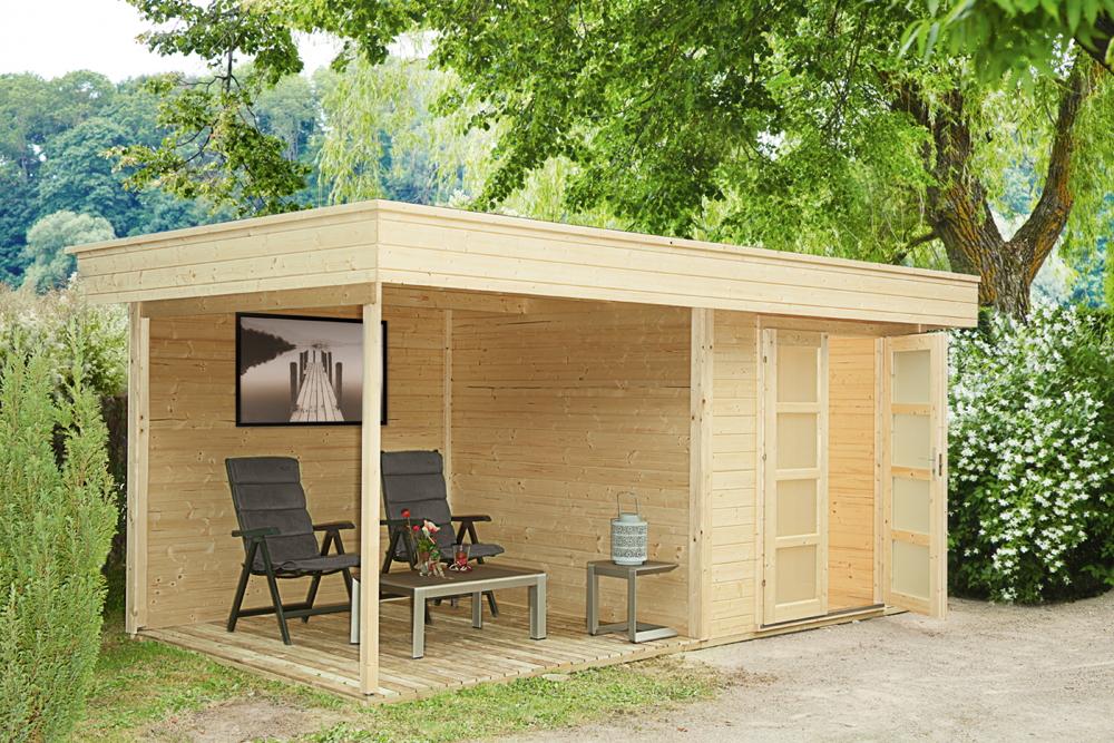 gartenhaus-flachdach-250x250cm-holzhaus-bausatz-28mm-inkl-seitlicher-terrasse-
