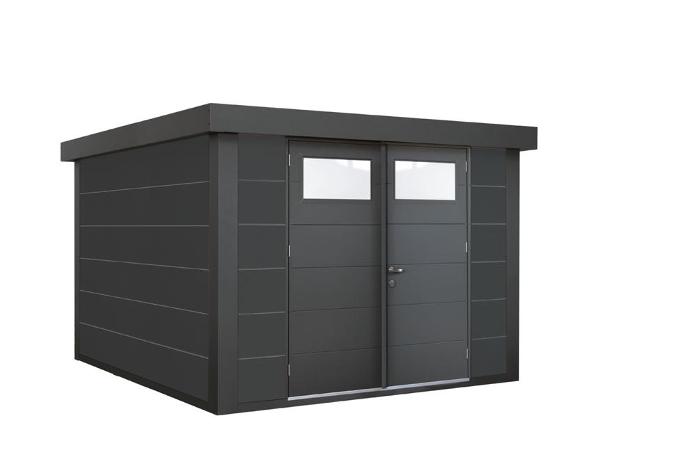 geratehaus-flachdach-metallgeratehaus-268x238-granitgrau-doppeltur
