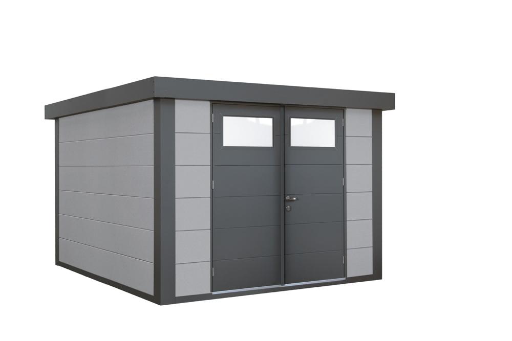 geratehaus-flachdach-metallgeratehaus-268x238-lichtgrau-doppeltur