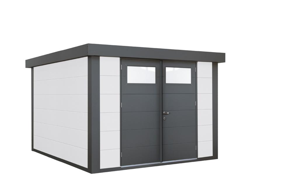 geratehaus-flachdach-metallgeratehaus-268x238-wei-doppeltur