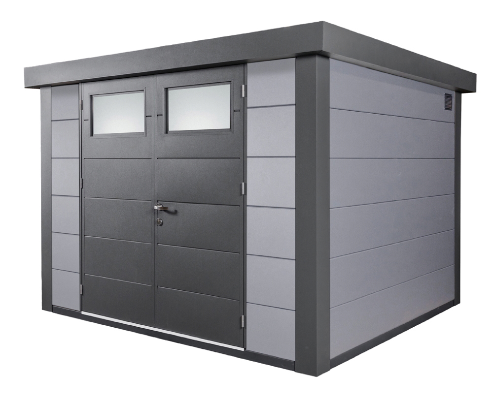 geratehaus-flachdach-metallgeratehaus-298x238-lichtgrau-doppeltur