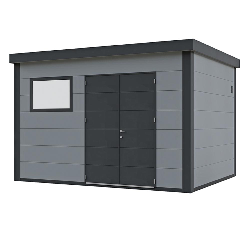 geratehaus-flachdach-metallgeratehaus-388x298-lichtgrau-doppeltur