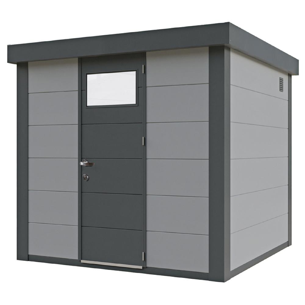 geratehaus-flachdach-metallgeratehaus-238x238-lichtgrau-einzeltur-eleganto-inkl-seitlichen-anba