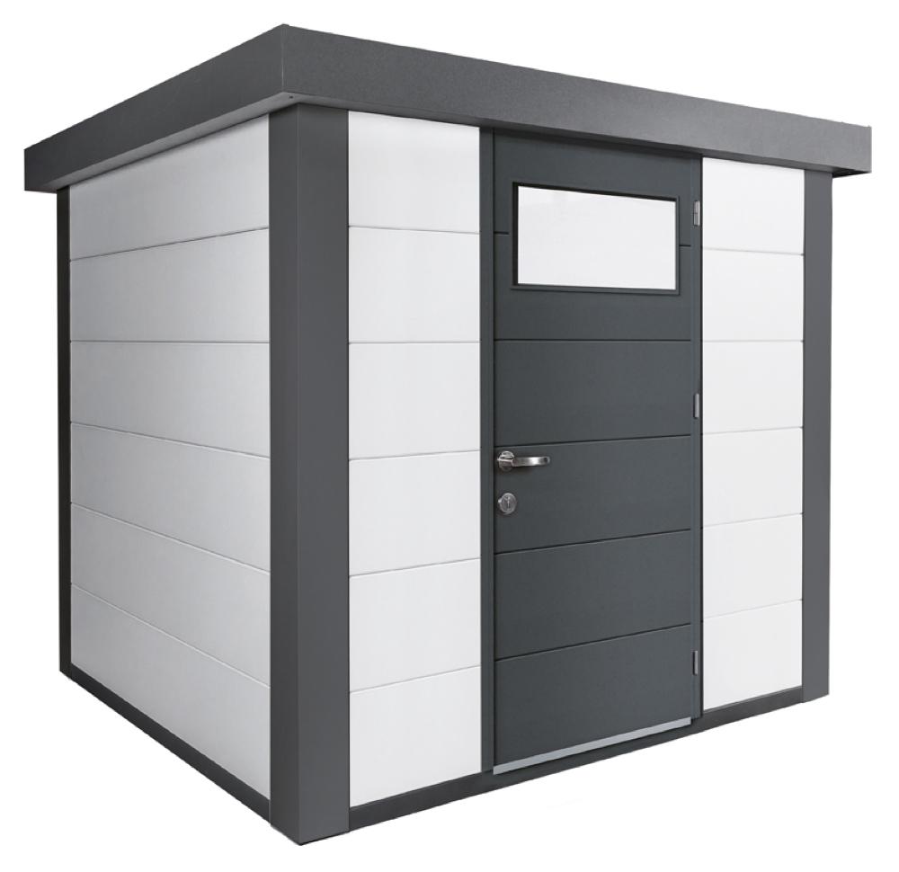 geratehaus-flachdach-metallgeratehaus-238x238-wei-einzeltur-eleganto-inkl-seitlichen-anbau-re