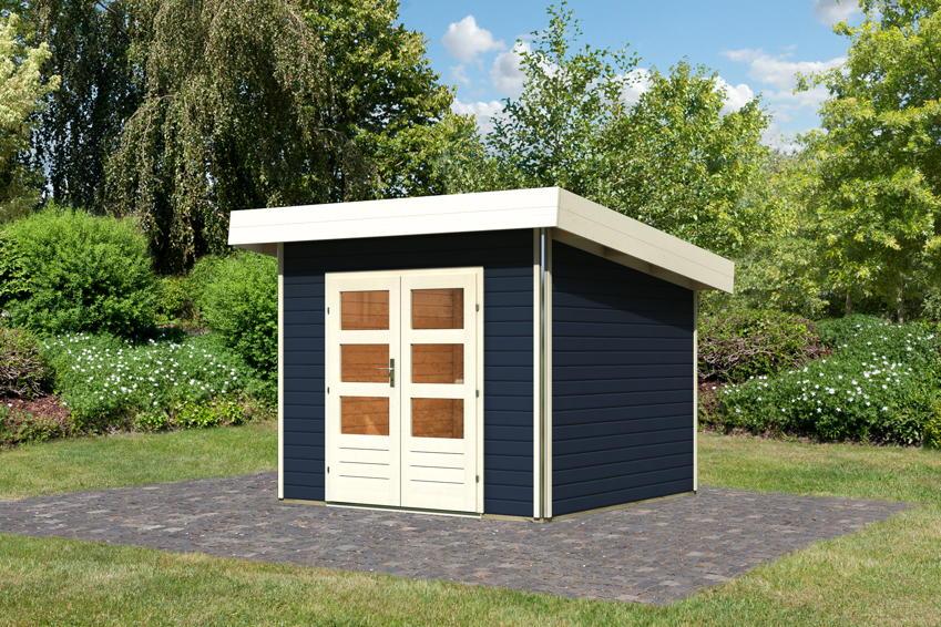 Gartenhaus Holz Konfigurator ~ KARIBU «Moosburg» Holz Haus Bausatz Flachdach  Gartenhaus aus Holz