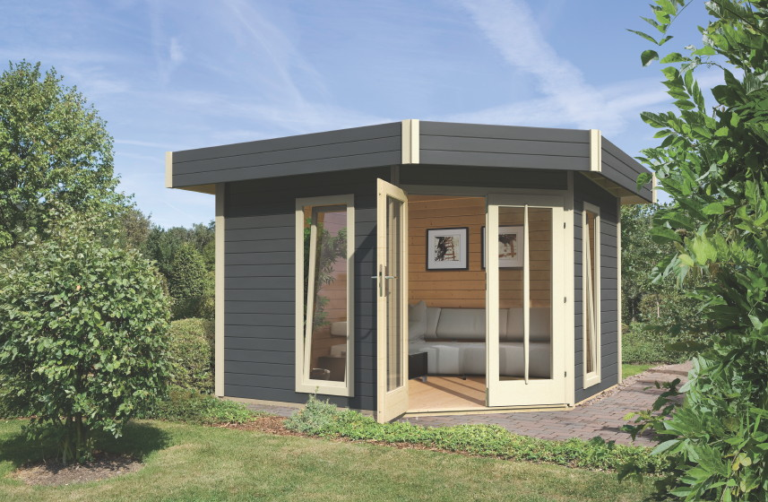 gartenhaus flachdach poolhaus mit terrasse ebay. Black Bedroom Furniture Sets. Home Design Ideas