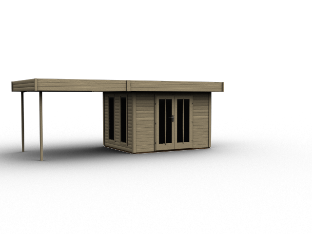 gartenhaus flachdach karibu multi cube 3 ebay. Black Bedroom Furniture Sets. Home Design Ideas
