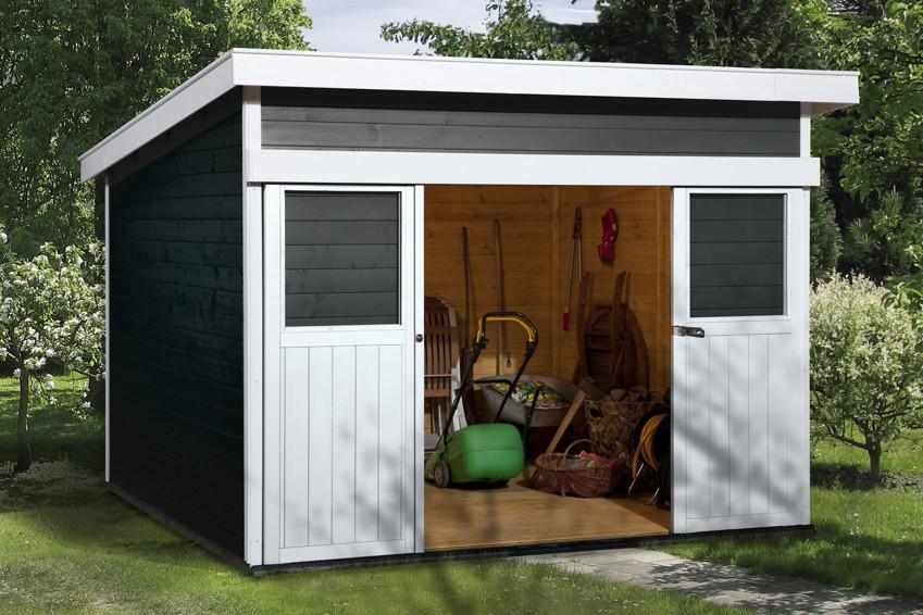 pultdach ger tehaus mit gro er schiebet r ebay. Black Bedroom Furniture Sets. Home Design Ideas