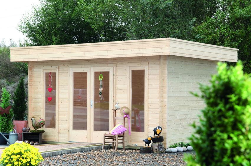Gartenhaus Holz Flachdach Modern ~ Flachdach WOLFF «Borkum 40» Holz Haus Bausatz  Gartenhaus aus Holz