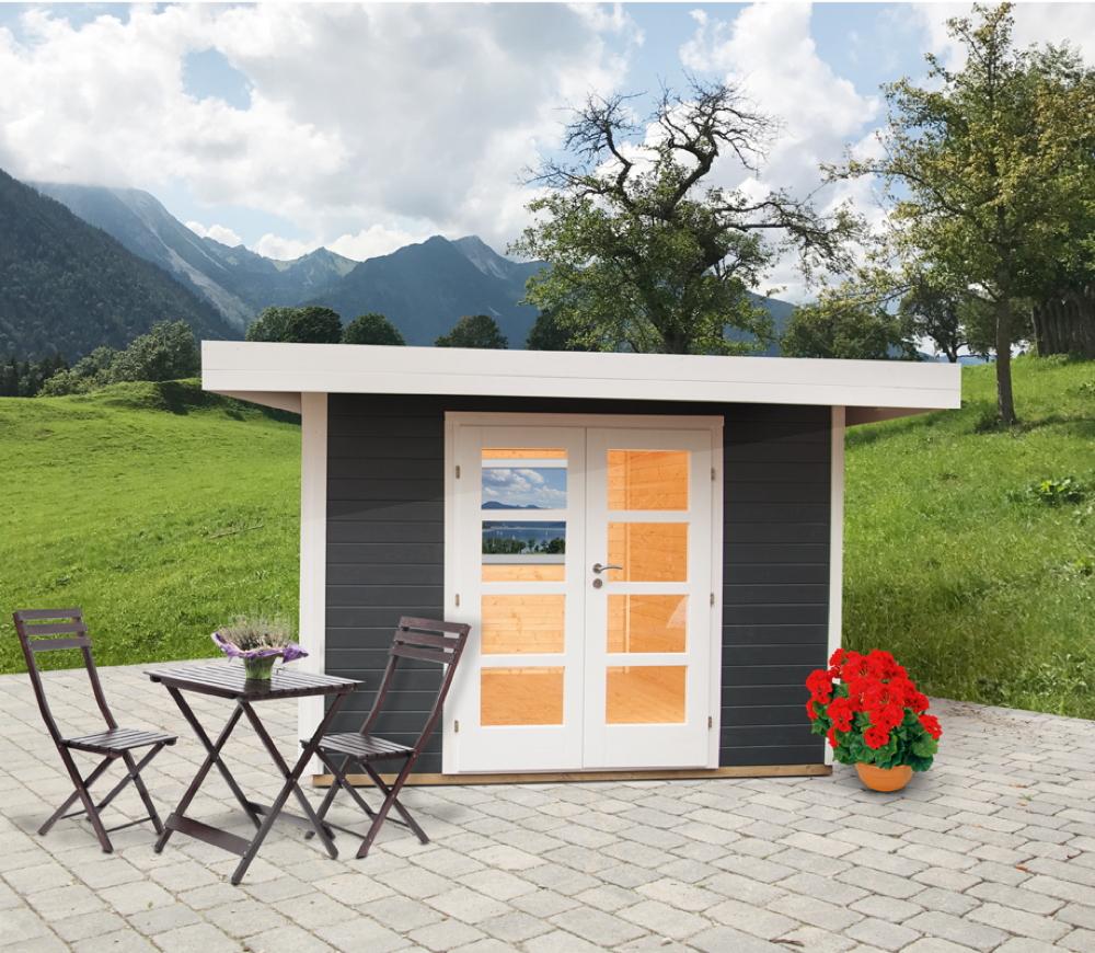 gartenhaus-relaxhaus-295x241-pultdach-flachdach-holzhaus-panorama-doppeltur-grau
