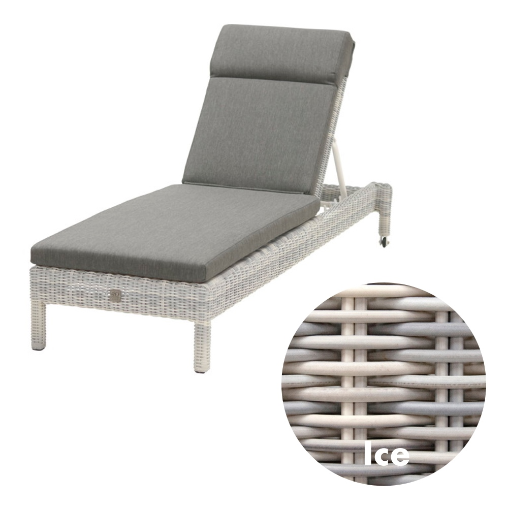 gartenliege 4seasons mambo ice stapelliege rattan mit auflage korbliege holz angebot. Black Bedroom Furniture Sets. Home Design Ideas