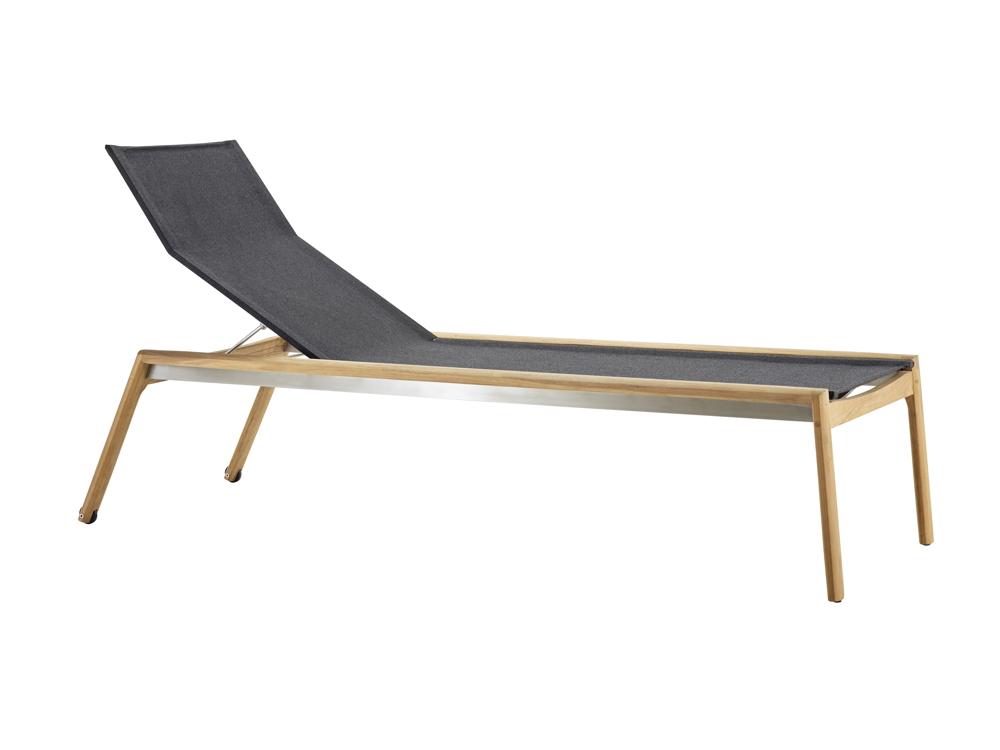 gartenliege solpuri safari liege teakholz textilene sonnenliege gartenm bel fachhandel. Black Bedroom Furniture Sets. Home Design Ideas