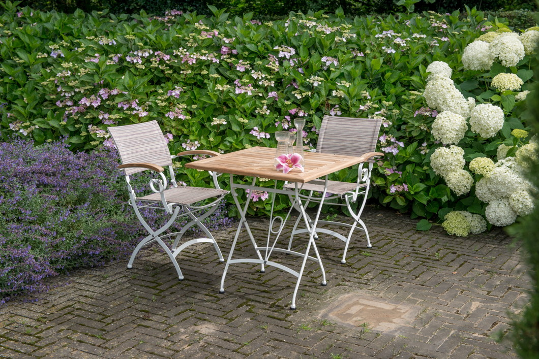 gartentisch 4seasons lindau wei 70x70 biergartentisch klapptisch eisen teak vom garten. Black Bedroom Furniture Sets. Home Design Ideas