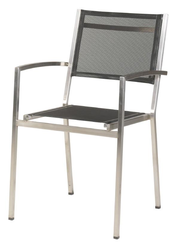 gartenstuhl 4seasons plaza stapelsessel schwarz edelstahl textilene holz angebot. Black Bedroom Furniture Sets. Home Design Ideas