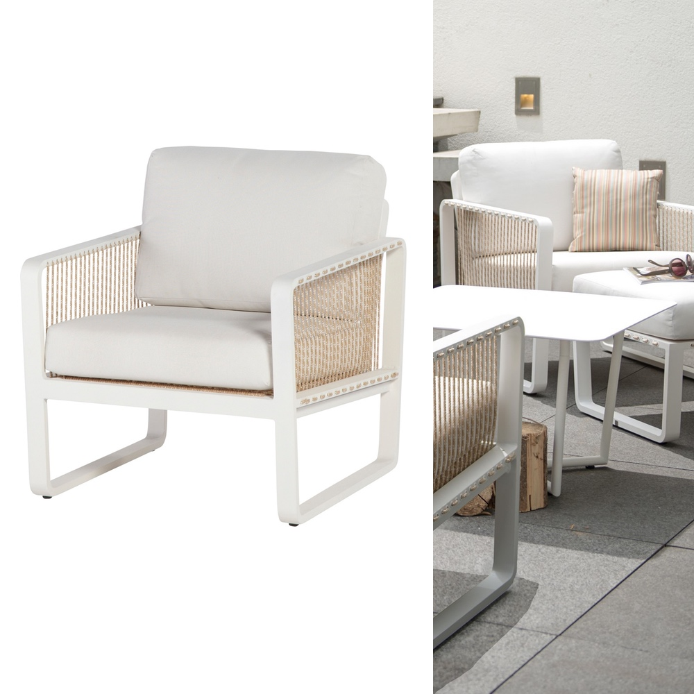 Lounge sessel garten holz  Gartentstuhl «Largo» Lounge Sessel, Aluminiumstuhl mit Kissen | vom ...