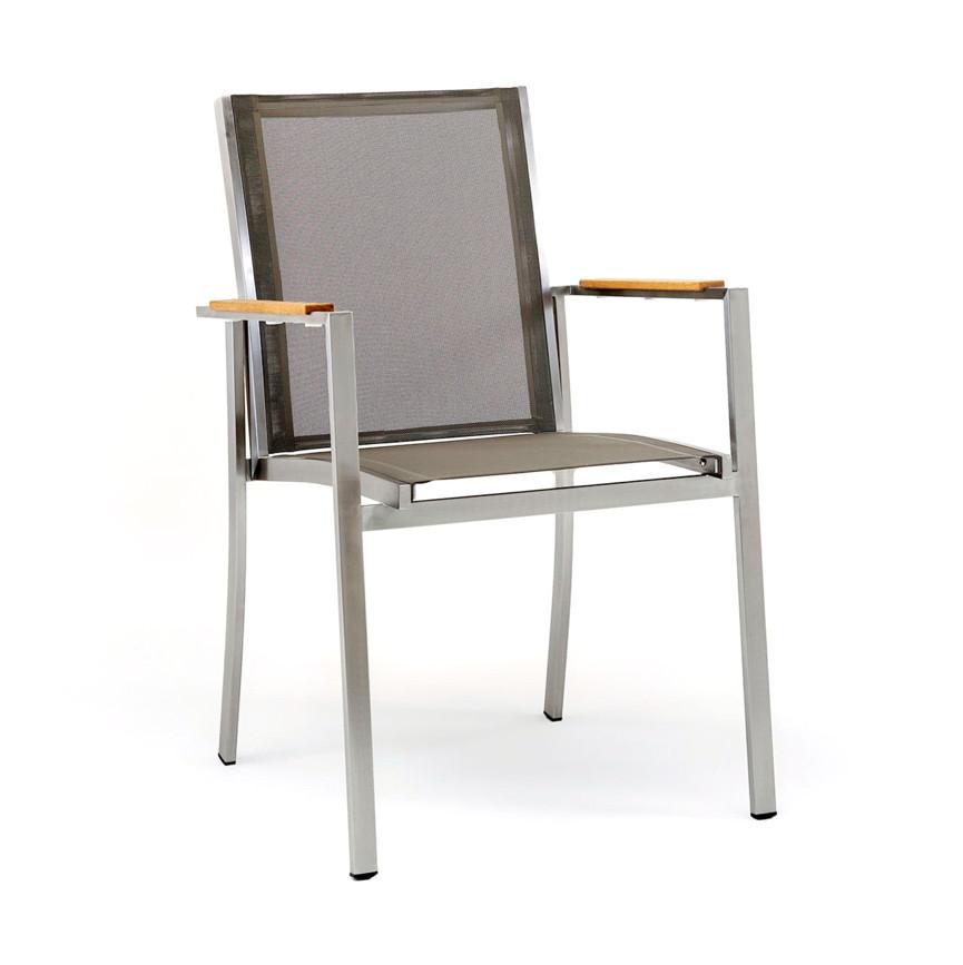 gartenstuhl niehoff nina sessel i batyline taupe edelstahl gartenm bel fachhandel. Black Bedroom Furniture Sets. Home Design Ideas