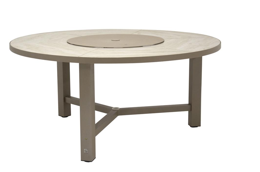gartentisch 4seasons diva esstisch rund taupe alugestell mit keramikplatte 4 seasons. Black Bedroom Furniture Sets. Home Design Ideas
