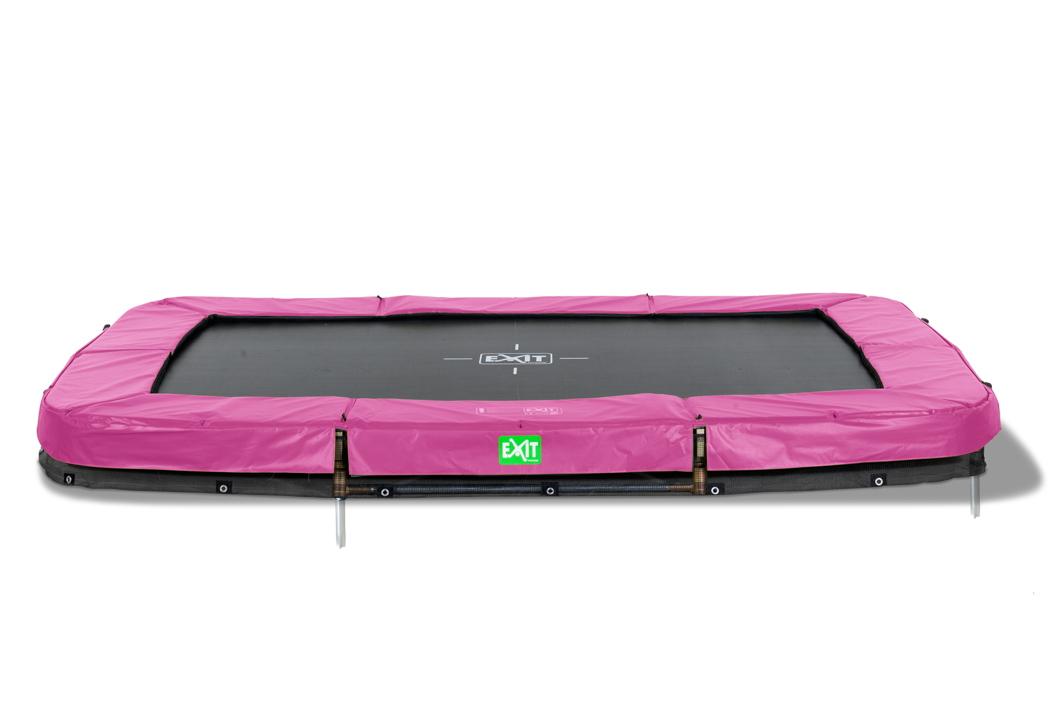 kinder trampolin exit twist ground pink 244x427 cm bodentrampolin holz angebot. Black Bedroom Furniture Sets. Home Design Ideas
