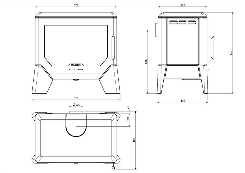 kamin ofen wamsler f box 8 0 kw xl brennraum ebay. Black Bedroom Furniture Sets. Home Design Ideas
