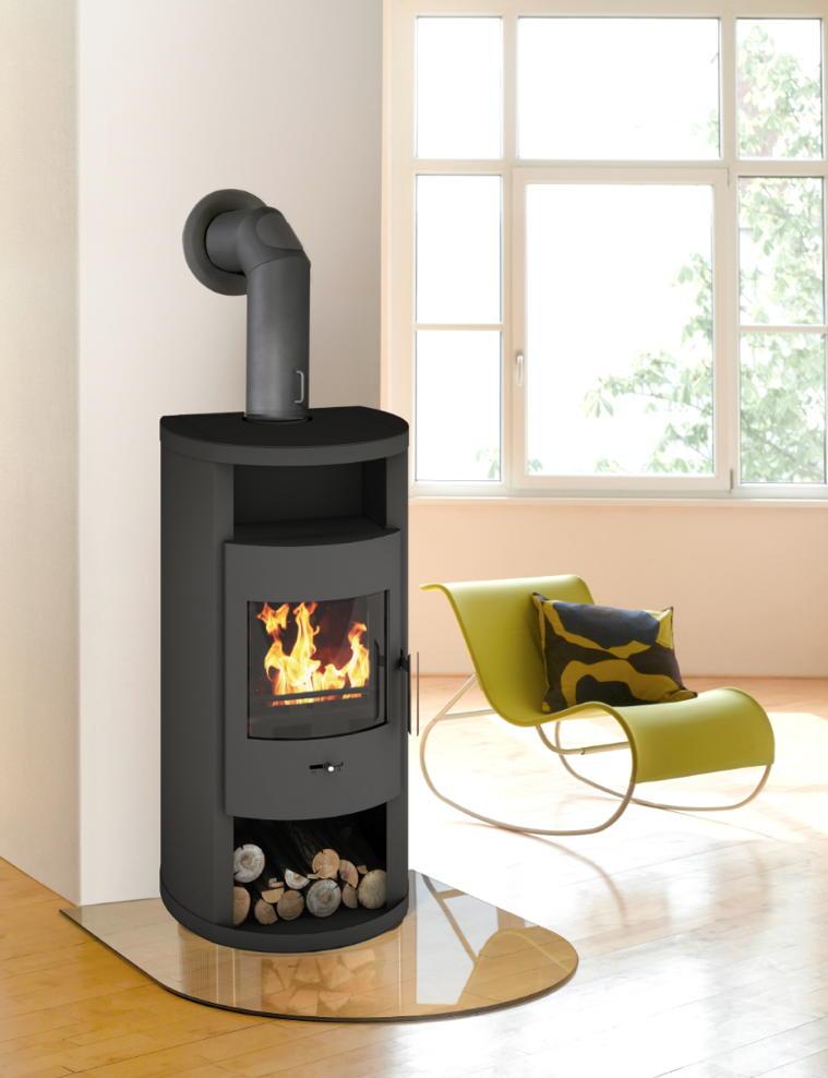 kaminofen wamsler kf lilith 6 0 kw schwarz holzlagerfach ebay. Black Bedroom Furniture Sets. Home Design Ideas