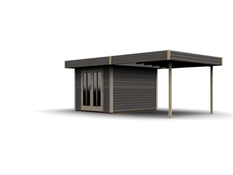 gartenhaus flachdach karibu «multi cube» holz bausatz, terragrau, Moderne