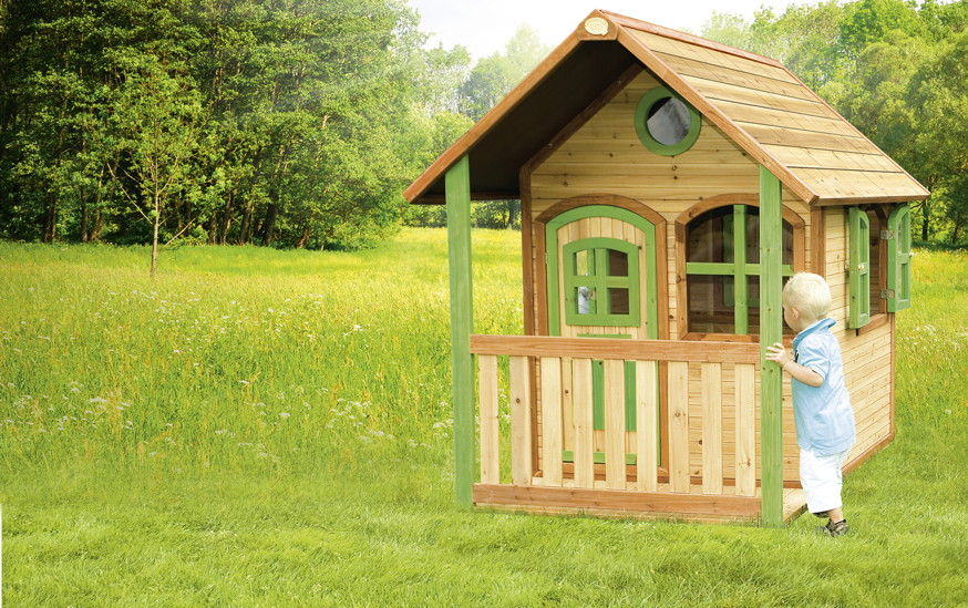kinder spielhaus geschlossen veranda kinderspielhaus holz farbig lasiert spielhaus kinderhaus. Black Bedroom Furniture Sets. Home Design Ideas