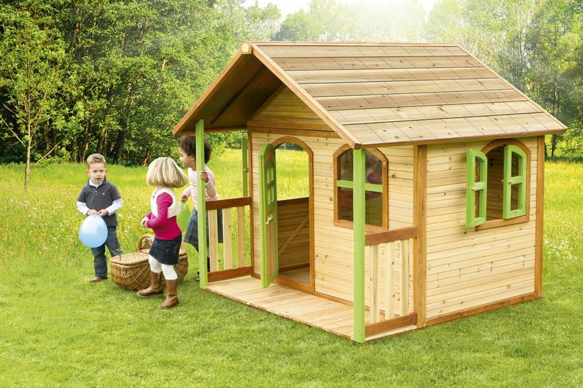 Kinderspielhaus Holz Rutsche ~ Kinder Holz Spielhaus Axi «MILAN» Kinderspielhaus mit Terrasse