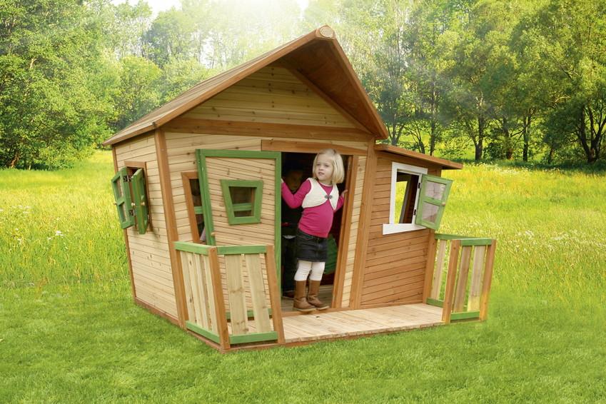 Holz Kinderspielhaus Comicstil Gartenspiel Geschlossen Farbig