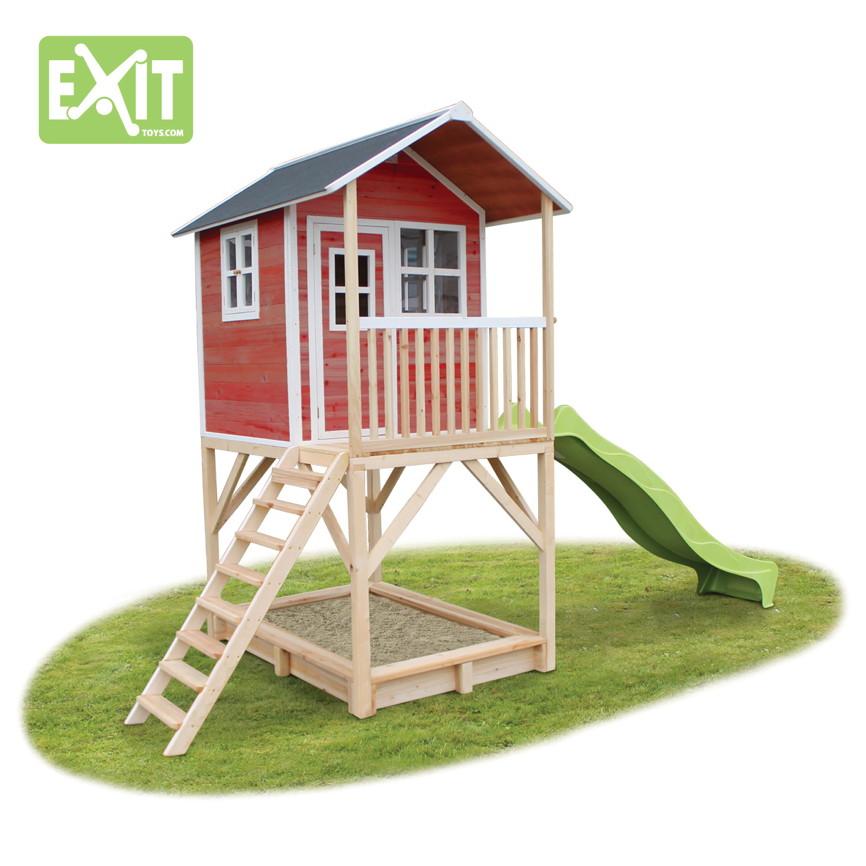 holz kinder spielhaus stelzen kinderspielhaus stelzenhaus rutsche rot klein kinderspielger te. Black Bedroom Furniture Sets. Home Design Ideas
