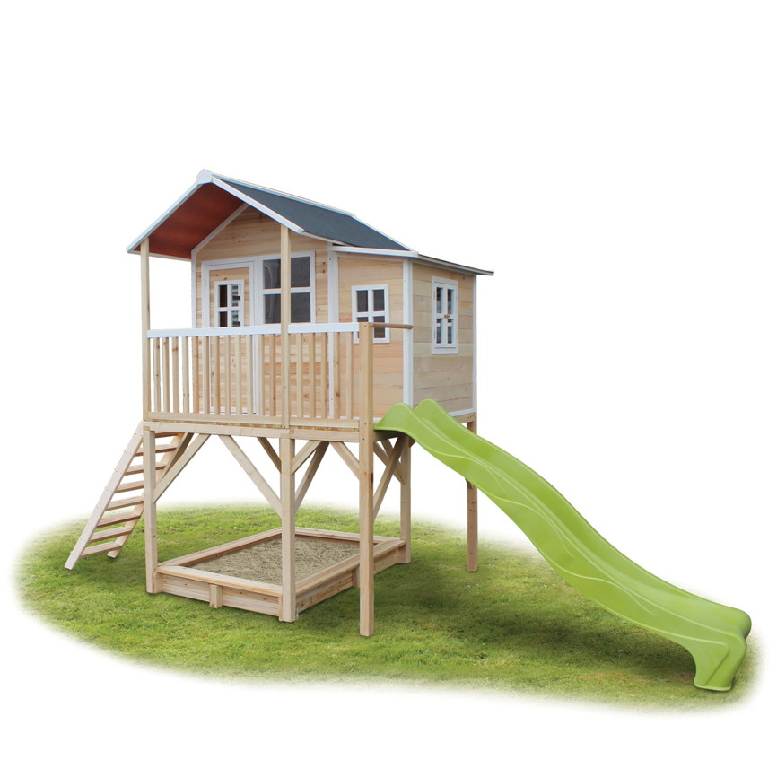 d18b7e977a Holz-Kinder-Spielhaus Stelzen-Spielhaus Stelzenhaus natur Rutsche Sandkasten