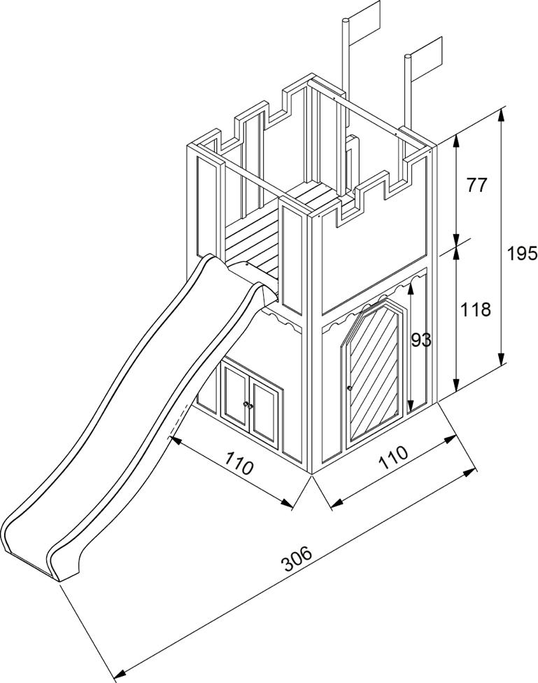 ritterburg axi arthur kinder spielturm holz spielturm mit rutsche. Black Bedroom Furniture Sets. Home Design Ideas