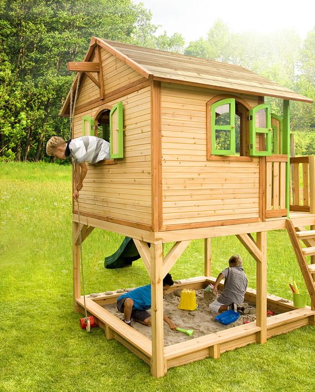 kinder holz spielhaus axi marc kinderspielhaus auf stelzen sandkasten ebay. Black Bedroom Furniture Sets. Home Design Ideas