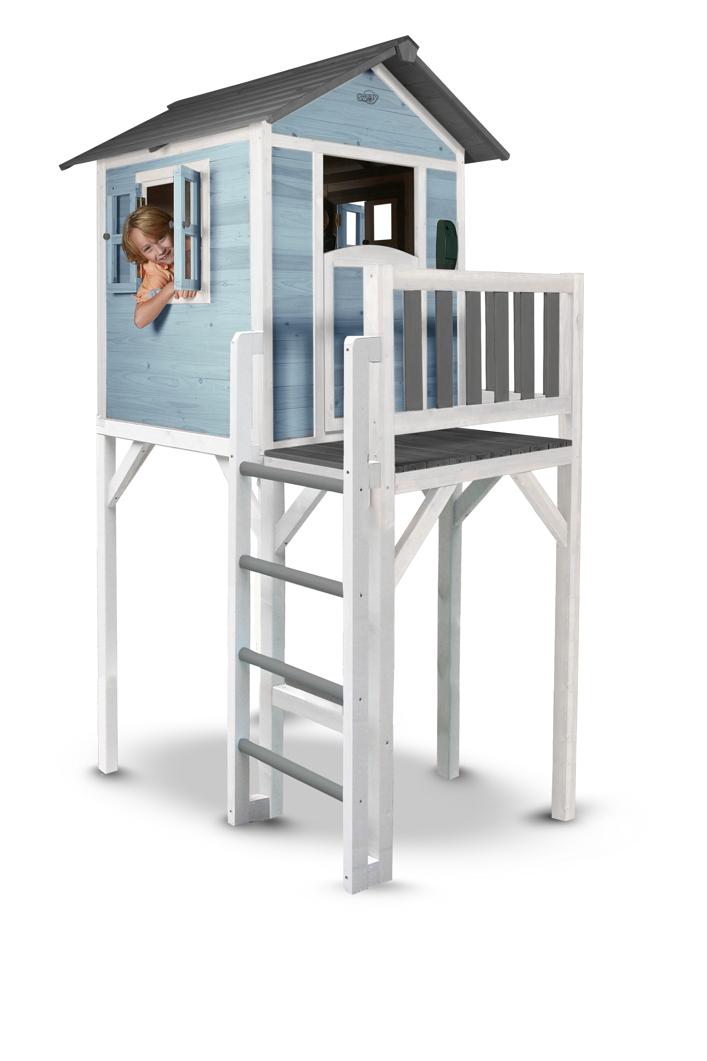 kinder spielhaus beachstyle lodge xxl blau stelzenhaus holzhaus terrasse vom spielger te. Black Bedroom Furniture Sets. Home Design Ideas