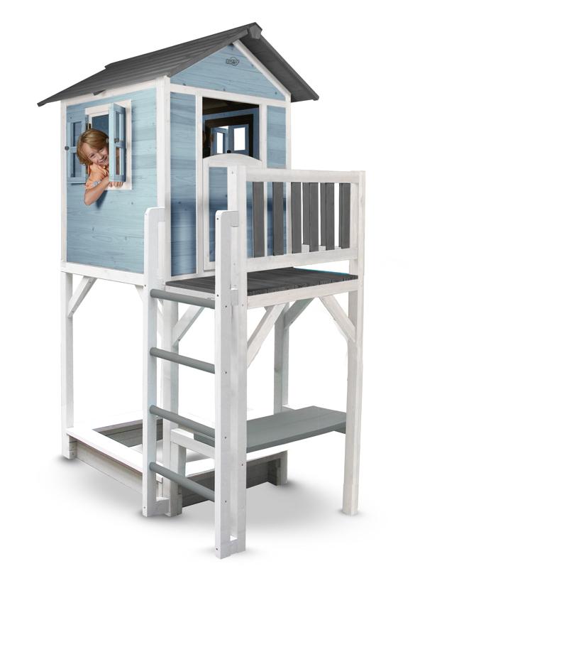 Delightful Kinder Spielhaus BeachStyle «Lodge XXL PLUS Blau» Stelzenhaus Sandkasten