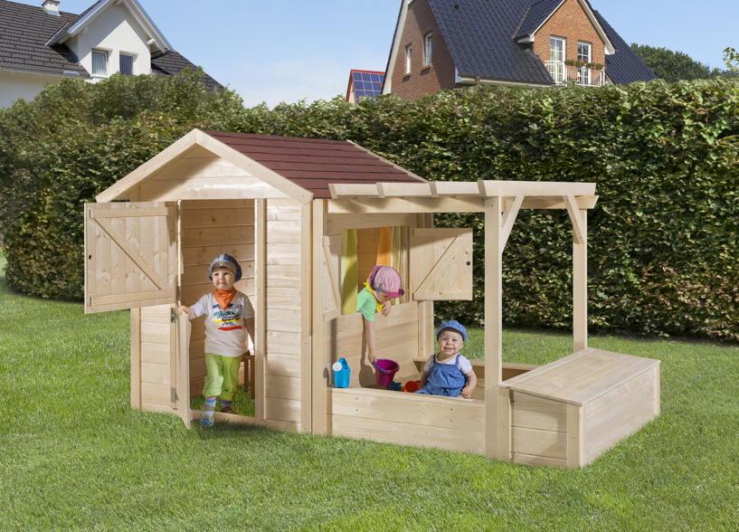 Kinder Holz-Spielhaus WEKA «Tabaluga Drachenhöhle inkl. Sandkasten, Pergola und Schatztruhe»