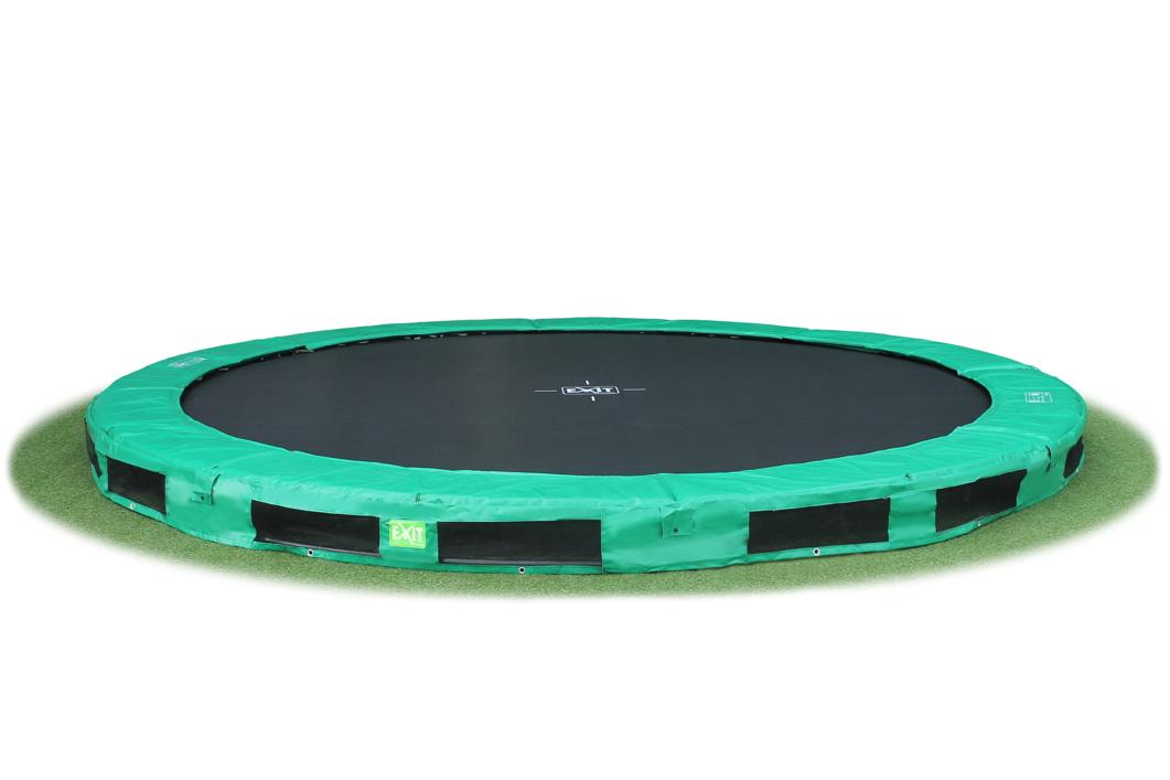 kinder trampolin exit interra gr n 427cm trampolin bodentrampolin holz angebot. Black Bedroom Furniture Sets. Home Design Ideas