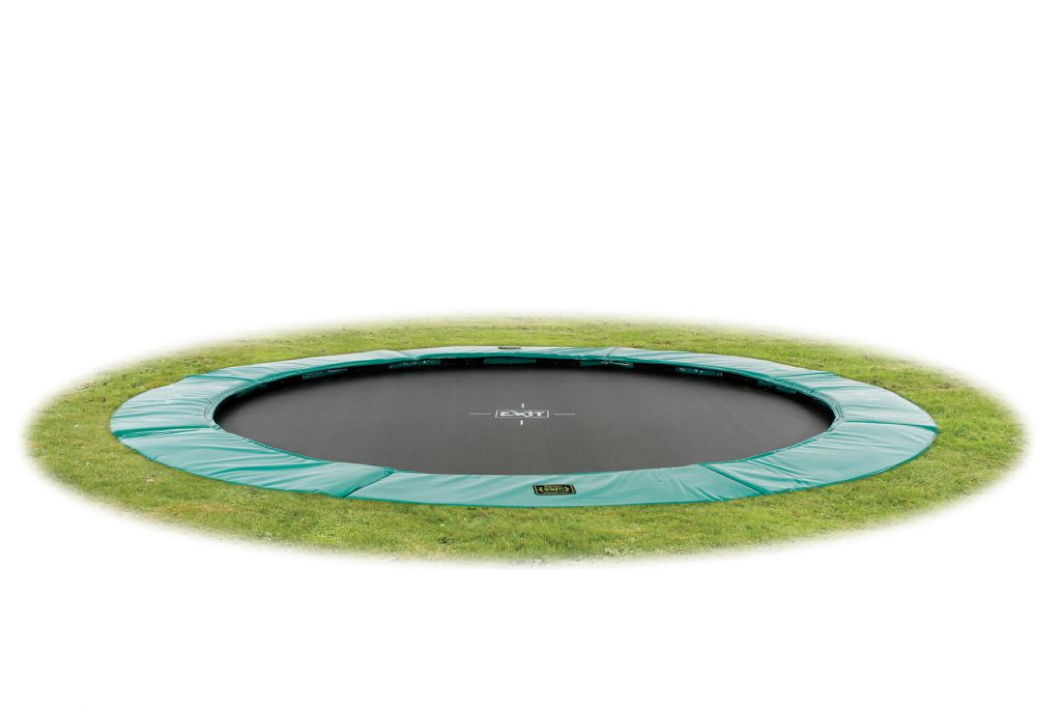 kinder trampolin exit bodentrampolin supreme 305cm gr n grau kinderspielger te f r den garten. Black Bedroom Furniture Sets. Home Design Ideas