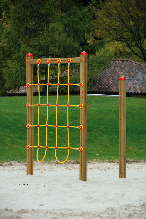 Klettergerüst DIN EN 1176 «Netz Kletterwand» Reckstange Holz ...