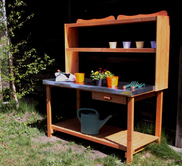 holz g rtnertisch promadino petterson pflanztisch metallarbeitsfl che pflanztische. Black Bedroom Furniture Sets. Home Design Ideas
