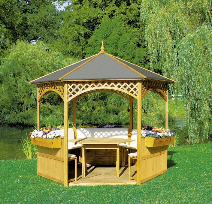 pavillon promadino palma 6 eck holz pavillon vom garten fachh ndler. Black Bedroom Furniture Sets. Home Design Ideas