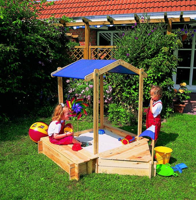 Sandkasten Holz PROMADINO «Peter Pan» Dach Sitzbank Spielzeugkiste Sandkiste