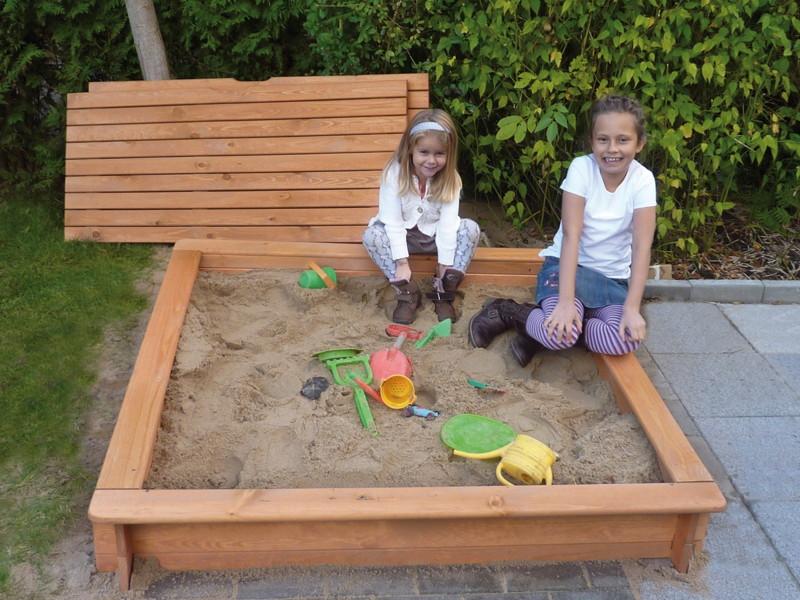Sandkasten Holz PROMADINO «Tessa» Deckel Premium Sandkiste